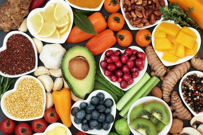 Display of foods that benefit your oral health